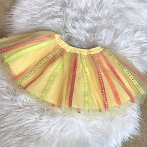 Gymboree yellow striped tulle skirt 2T